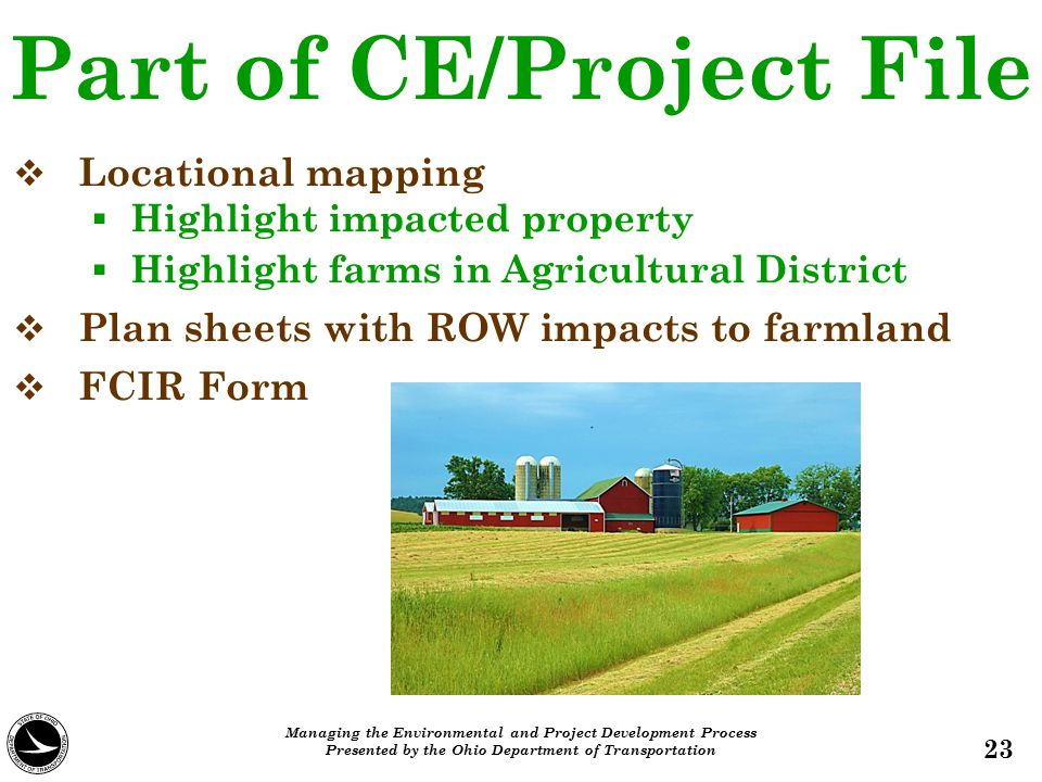 Part of CE/Project File   Locational mapping   Highlight impacted property   Highlight farms in Agricultural District   Plan sheets with ROW i
