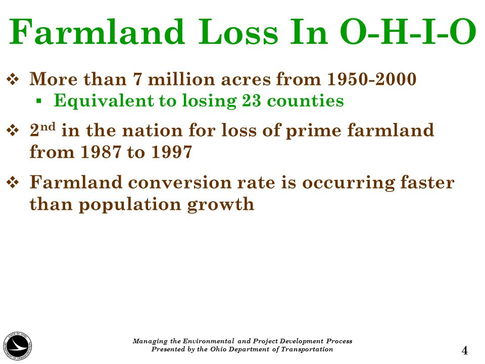 Farmland Loss In O-H-I-O  More than 7 million acres from 1950-2000  Equivalent to losing 23 counties  2 nd in the nation for loss of prime farmland