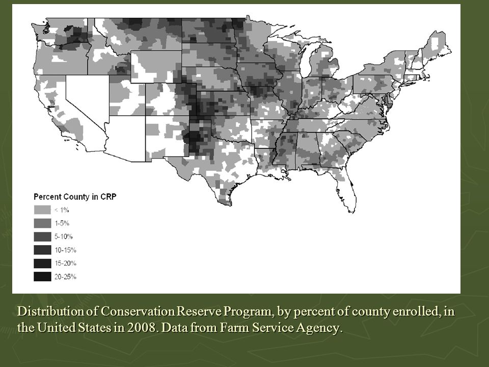 Distribution of Conservation Reserve Program, by percent of county enrolled, in the United States in 2008.