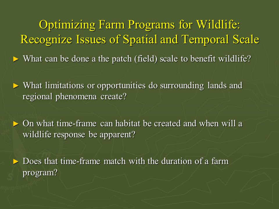 Optimizing Farm Programs for Wildlife: Recognize Issues of Spatial and Temporal Scale ► What can be done a the patch (field) scale to benefit wildlife.