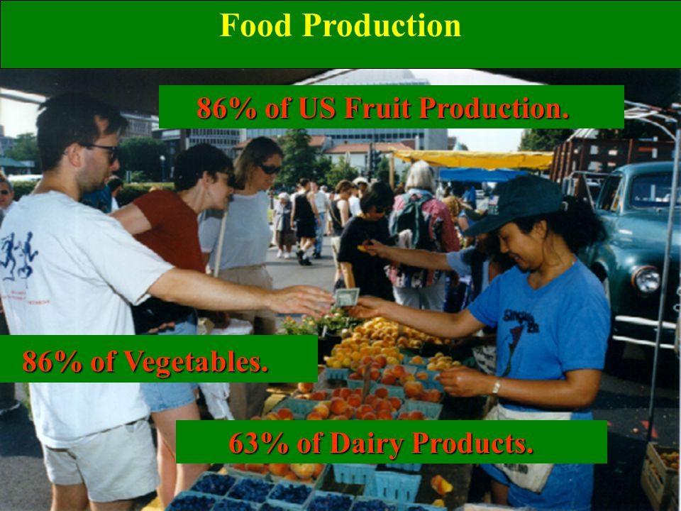86% of US Fruit Production. 86% of US Fruit Production.