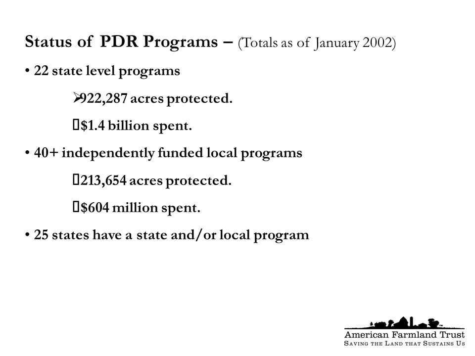 Status of PDR Programs – (Totals as of January 2002) 22 state level programs  922,287 acres protected.