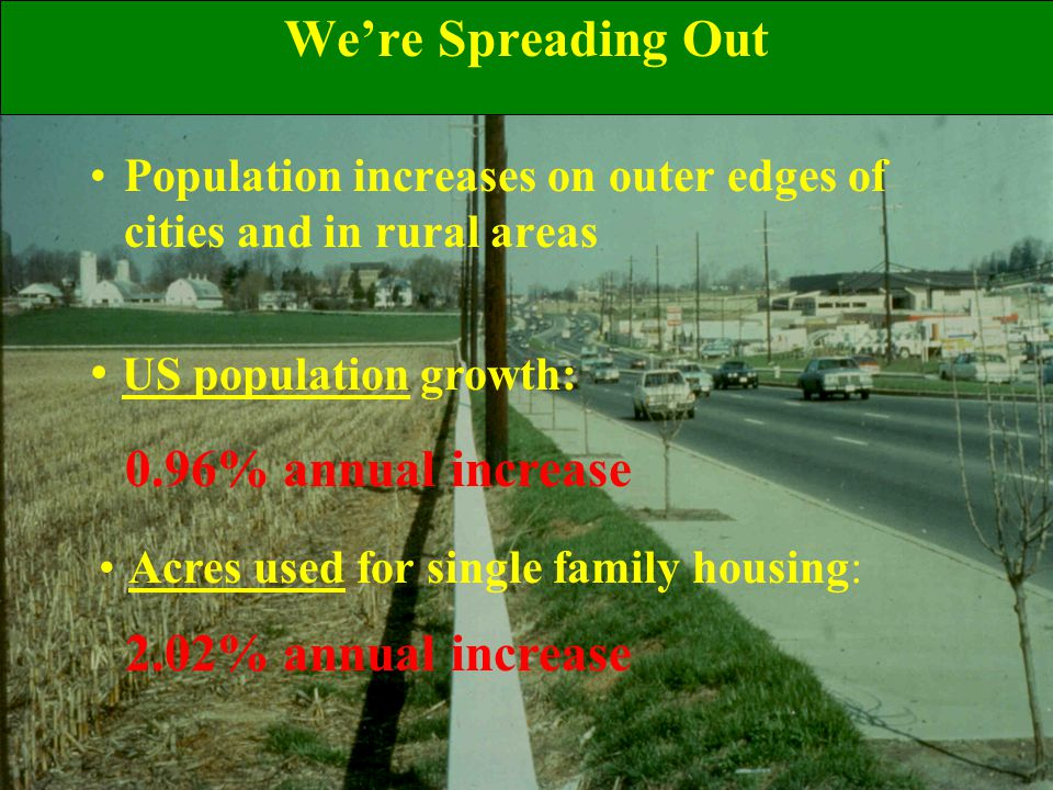 We're Spreading Out Population increases on outer edges of cities and in rural areas US population growth: 0.96% annual increase Acres used for single family housing: 2.02% annual increase