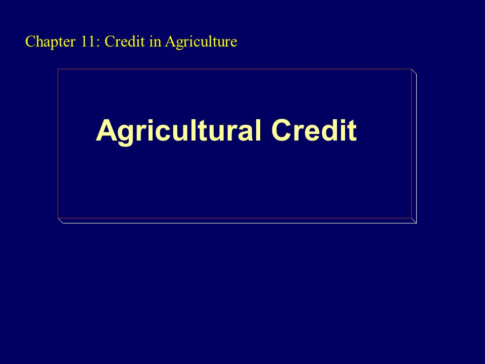 Chapter 11: Credit in Agriculture Agricultural Credit