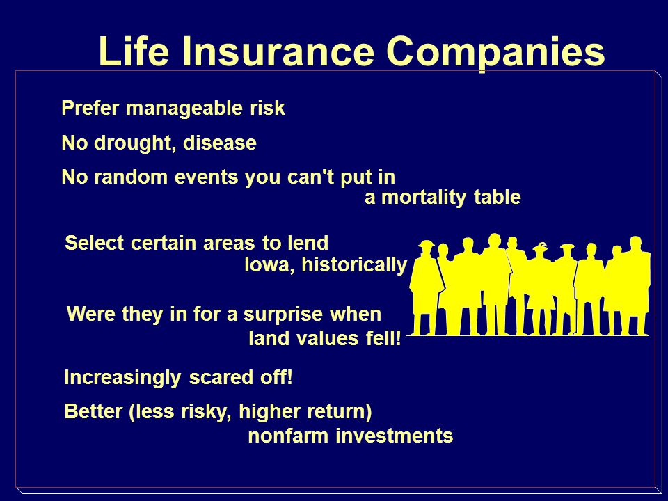 Life Insurance Companies Prefer manageable risk No drought, disease No random events you can't put in a mortality table Select certain areas to lend I