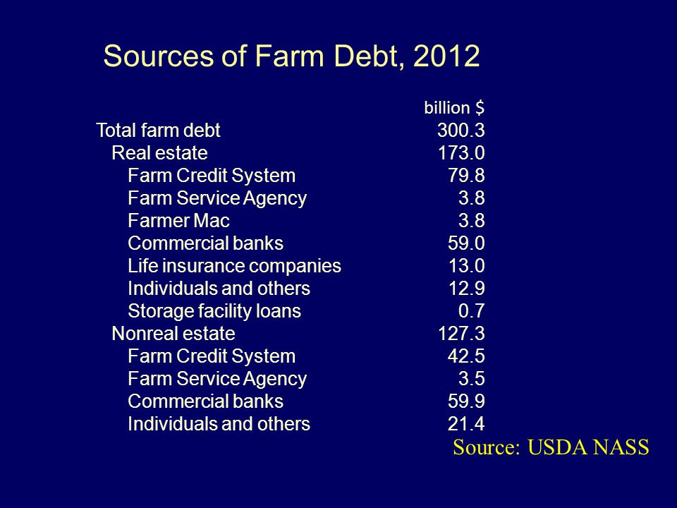 Sources of Farm Debt, 2012 Source: USDA NASS billion $ Total farm debt300.3 Real estate173.0 Farm Credit System79.8 Farm Service Agency3.8 Farmer Mac3