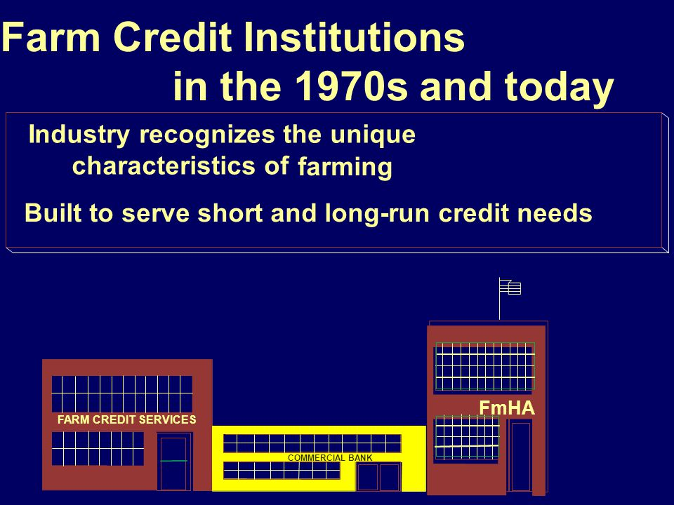 222 Federal Land Bank Historically, lends money for farmland purchases Occasionally made loans for other purposes but lending always made based on equity in farmland Chartered by the federal government the Federal Farm Loan Act of 1916 Owned by member-borrowers NOT a federal agency Federal Land Bank merged in 1987 with Production Credit Associations to form Farm Credit Services FARM CREDIT SERVICES