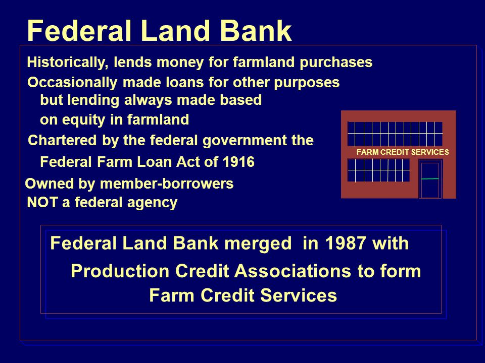 The credit pyramid collapsed when farmland values collapsed in the 1980s The foundation crumbled Farmland Values Land mortgages Short-term credit Farmland Values Land mortgages Short-term credit