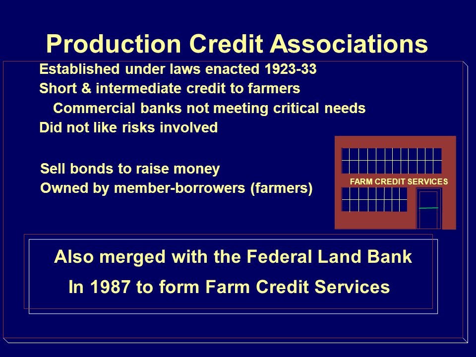 Farm Credit Services Still operating under laws enacted 1923-33 Short & intermediate credit to farmers Commercial banks not meeting critical needs Did not like risks involved Sell bonds to raise money Owned by member-borrowers (farmers) Chartered by the federal government FARM CREDIT SERVICES