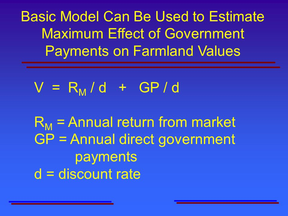 Basic Model Can Be Used to Estimate Maximum Effect of Government Payments on Farmland Values V = R M / d + GP / d R M = Annual return from market GP = Annual direct government payments d = discount rate