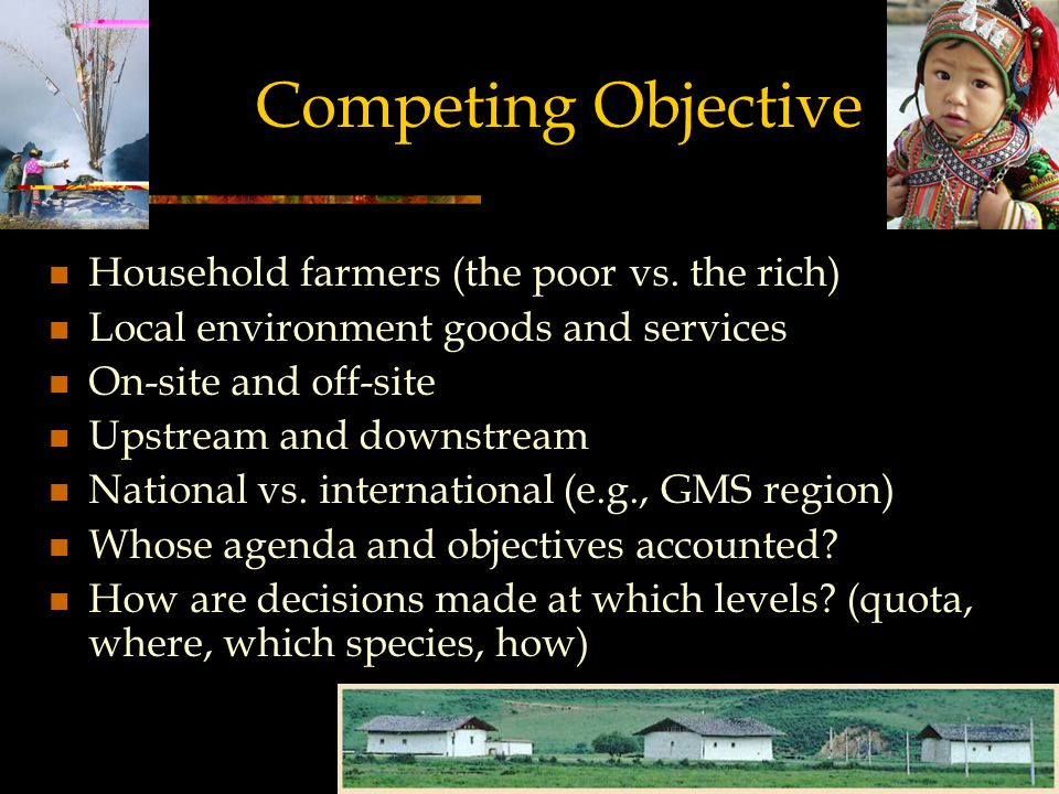 Competing Objective Household farmers (the poor vs.