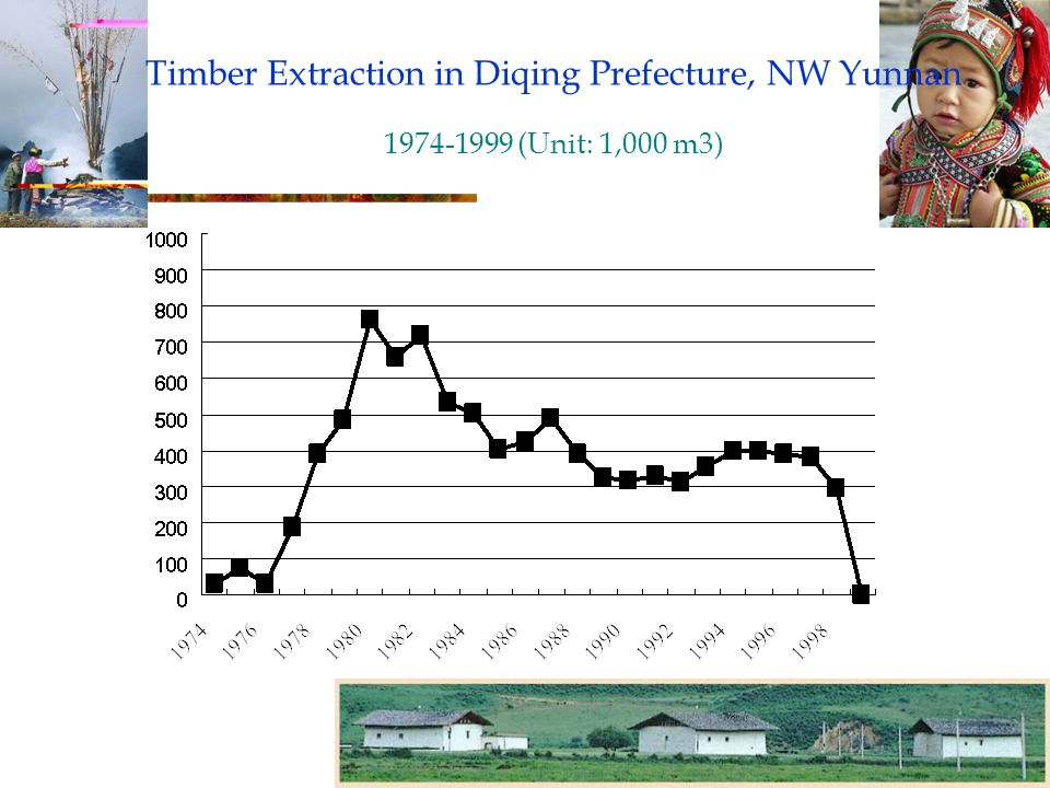 Timber Extraction in Diqing Prefecture, NW Yunnan 1974-1999 (Unit: 1,000 m3)