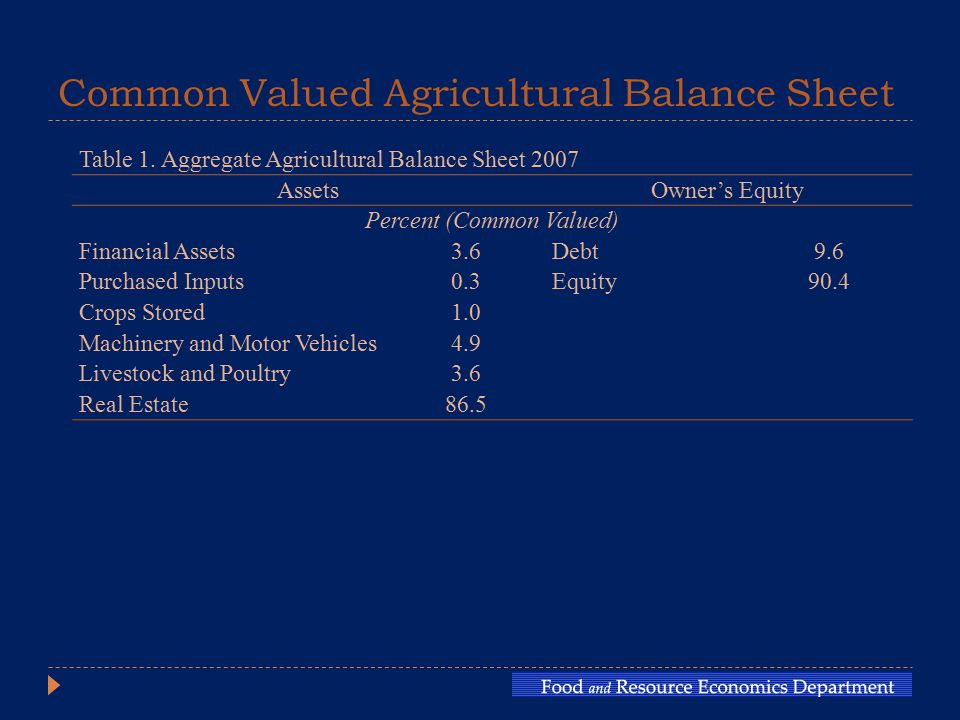 Common Valued Agricultural Balance Sheet Table 1.