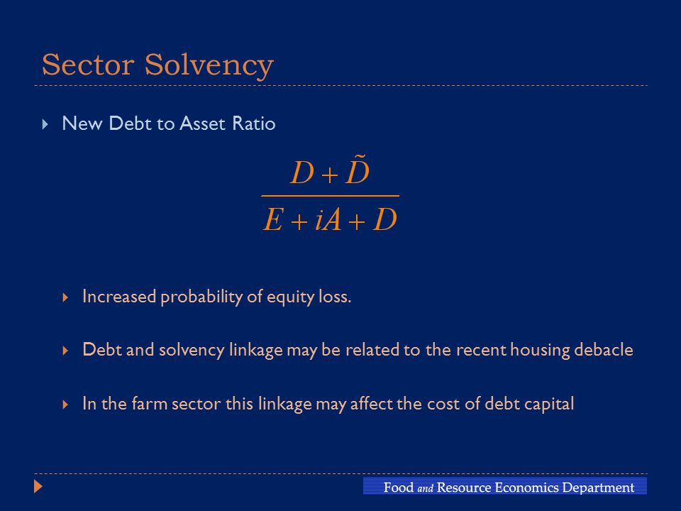 Sector Solvency  New Debt to Asset Ratio  Increased probability of equity loss.