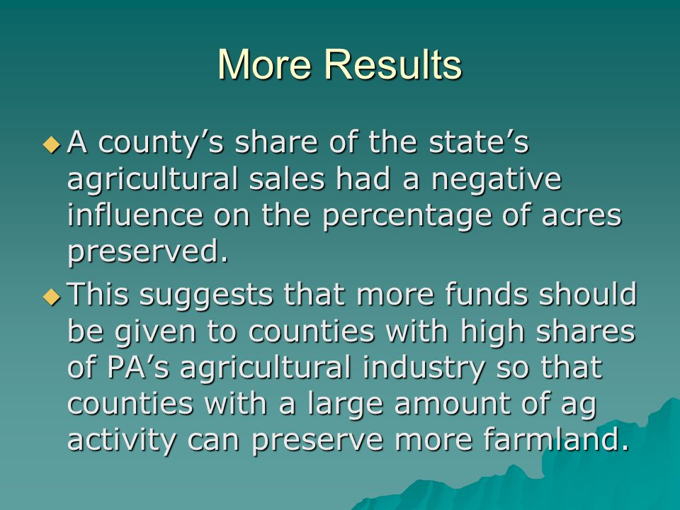 More Results  A county's share of the state's agricultural sales had a negative influence on the percentage of acres preserved.