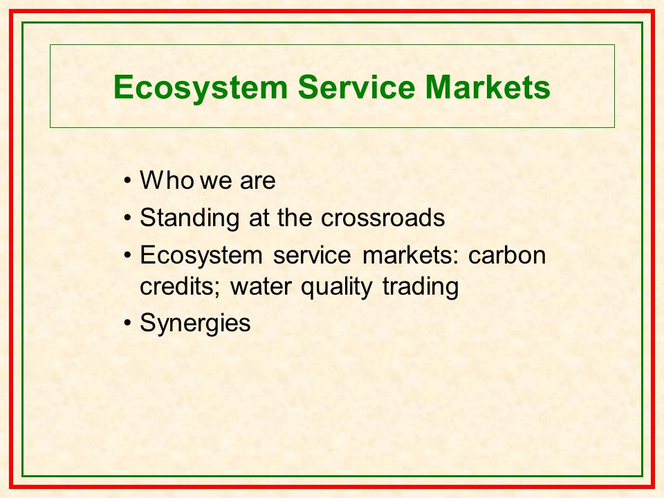 Ecosystem Service Markets Who we are Standing at the crossroads Ecosystem service markets: carbon credits; water quality trading Synergies