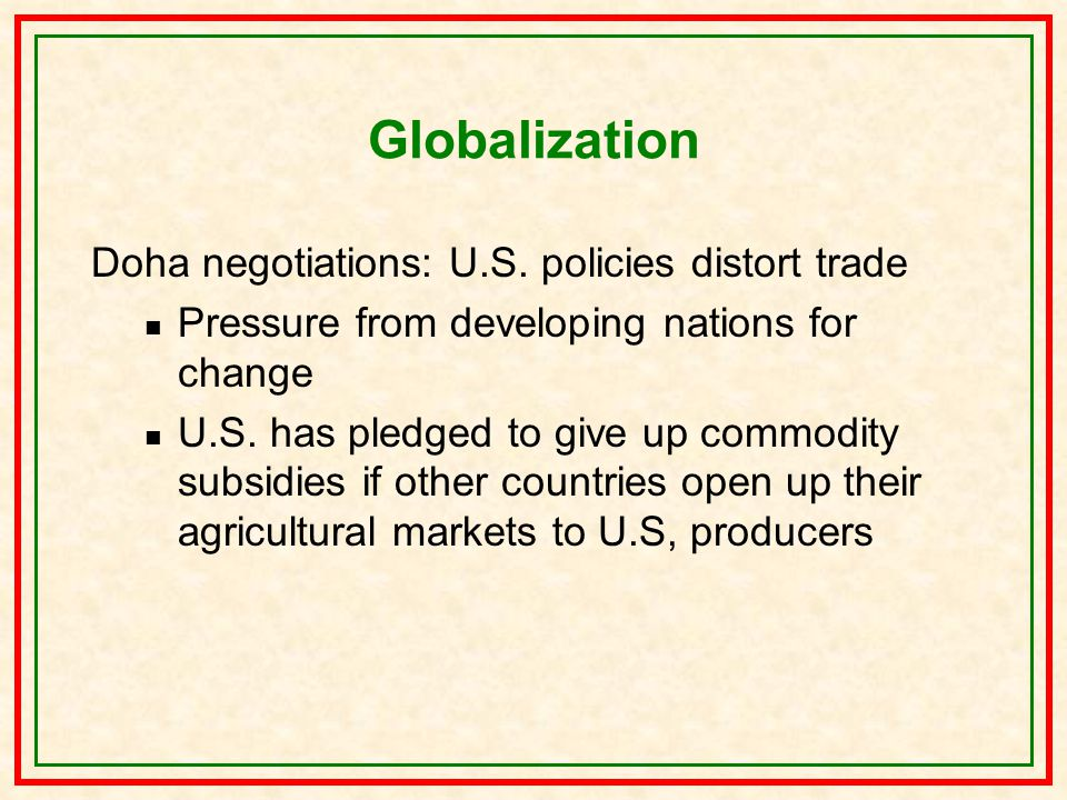 Globalization Doha negotiations: U.S.