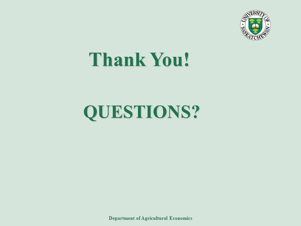 Department of Agricultural Economics QUESTIONS? Thank You!
