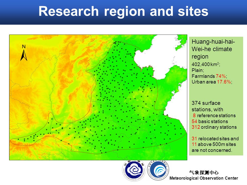 气象探测中心 Meteorological Observation Center Research region and sites Huang-huai-hai- Wei-he climate region ​ 402,400 km 2 ; Plain; Farmlands 74%; Urban area 17.6%; 374 surface stations, with 8 reference stations 54 basic stations 312 ordinary stations 31 relocated sites and 11 above 500m sites are not concerned.
