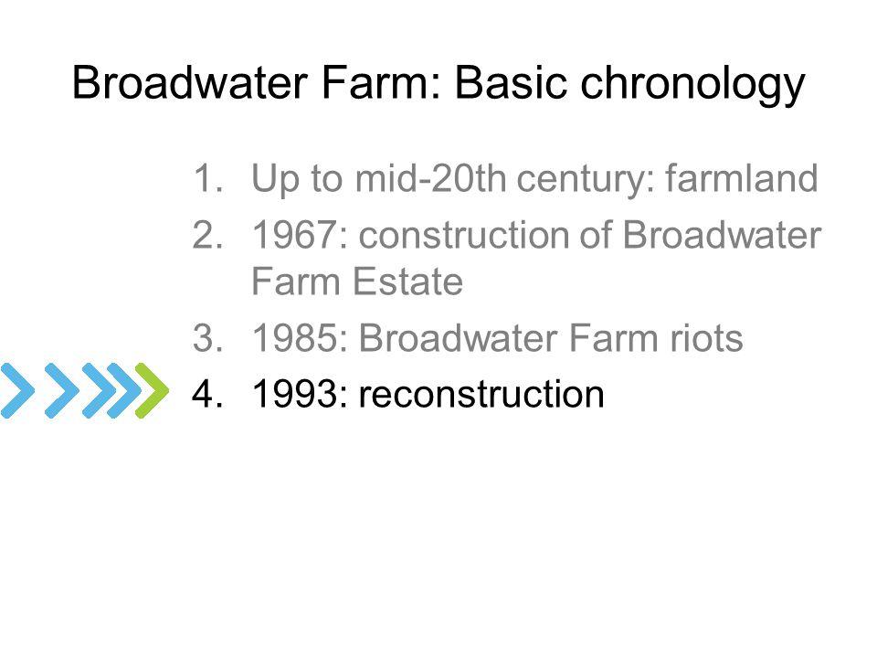 1.Up to mid-20th century: farmland 2.1967: construction of Broadwater Farm Estate 3.1985: Broadwater Farm riots 4.1993: reconstruction Broadwater Farm: Basic chronology