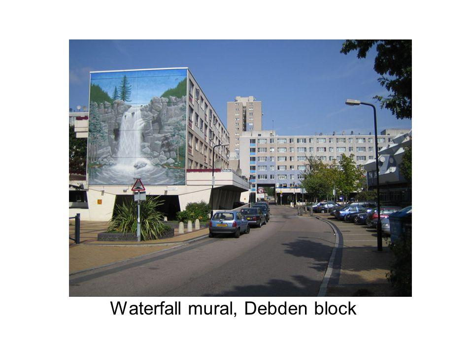 Waterfall mural, Debden block