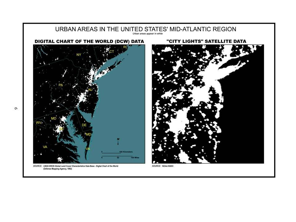 Urban Areas in the United States' Mid-Atlantic Region