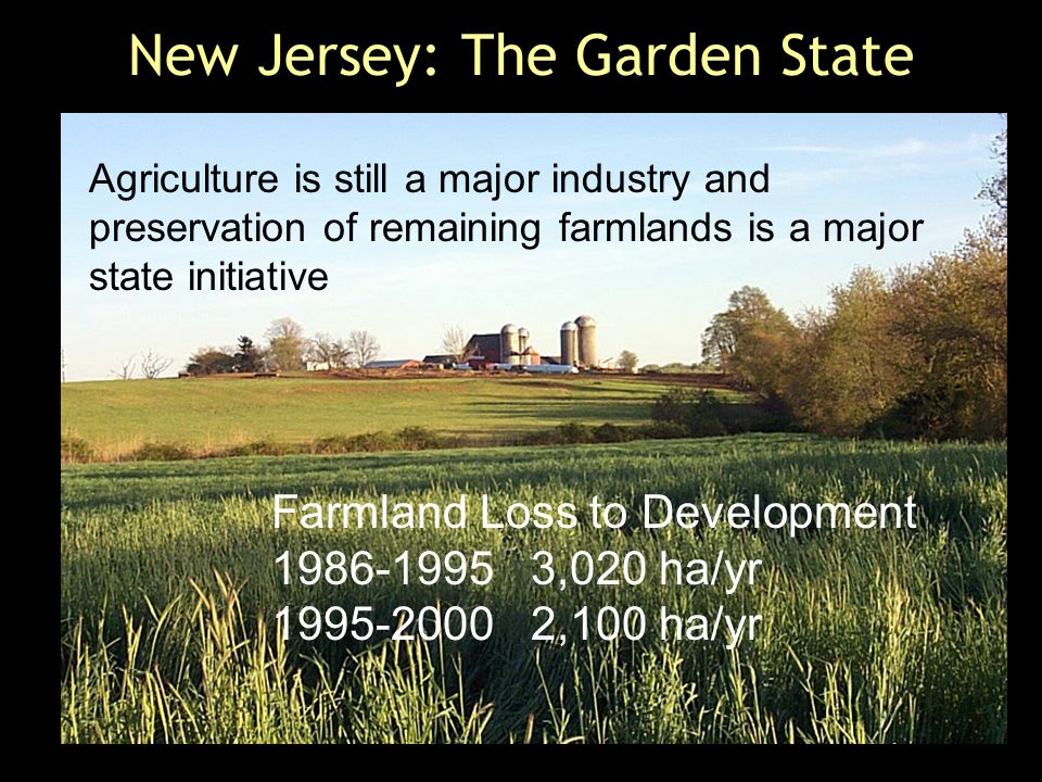New Jersey: The Garden State Agriculture is still a major industry and preservation of remaining farmlands is a major state initiative Farmland Loss to Development 1986-1995 3,020 ha/yr 1995-2000 2,100 ha/yr