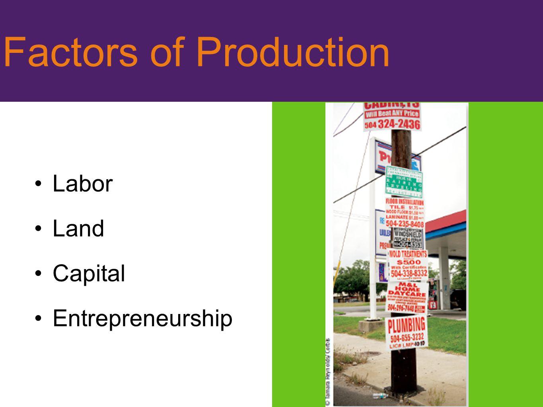 Factors of Production Labor Land Capital Entrepreneurship