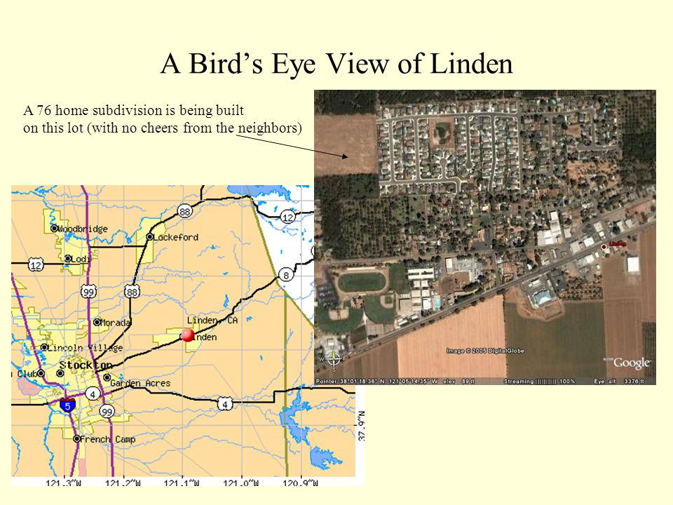A Bird's Eye View of Linden A 76 home subdivision is being built on this lot (with no cheers from the neighbors)