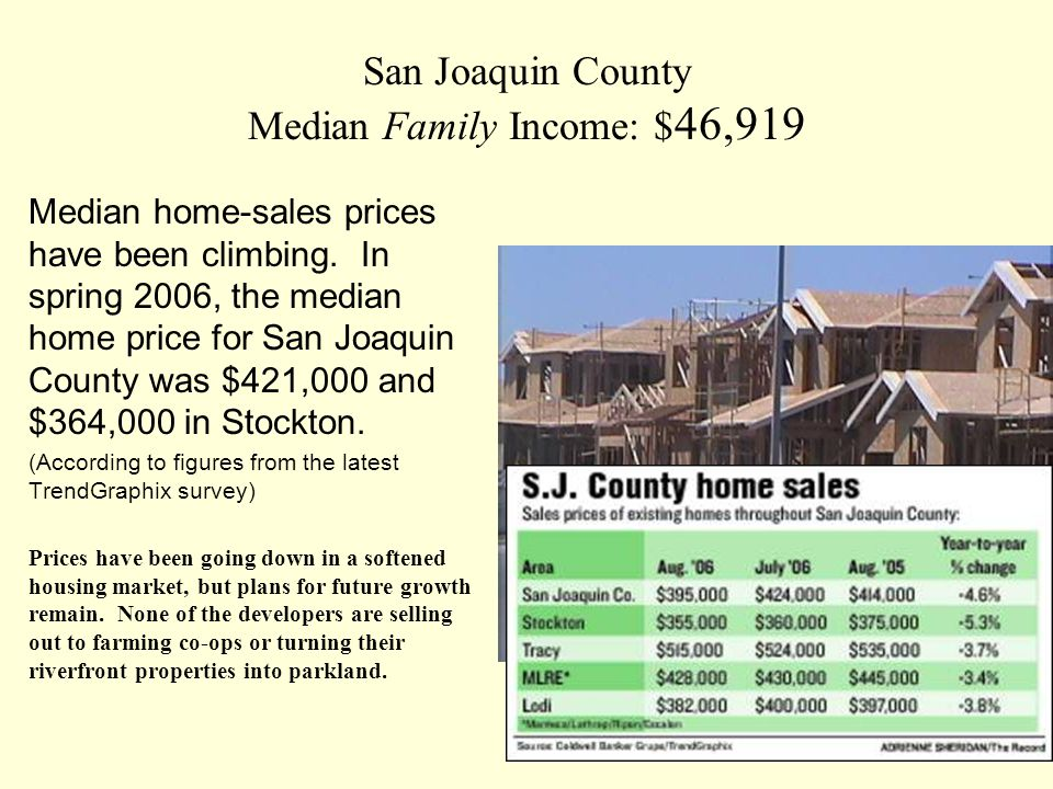 San Joaquin County Median Family Income: $ 46,919 Median home-sales prices have been climbing.