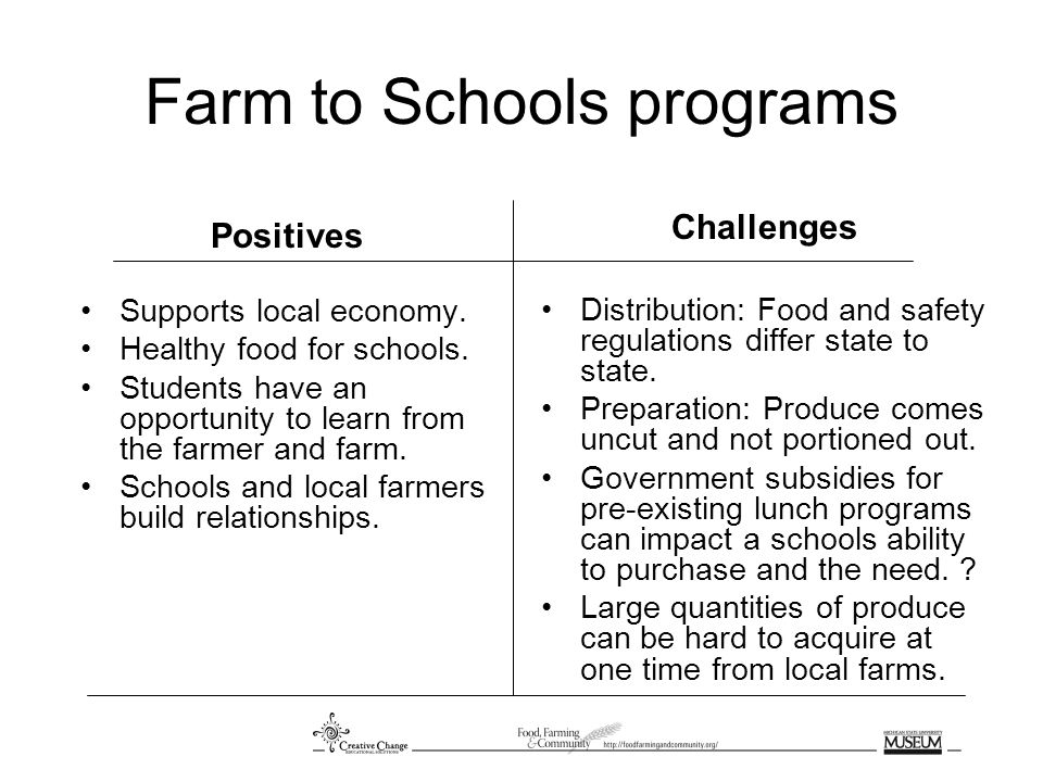 Farm to Schools programs Positives Supports local economy.