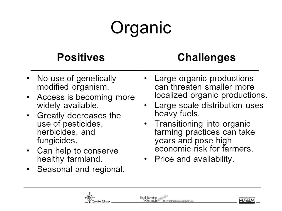 Organic Positives No use of genetically modified organism.