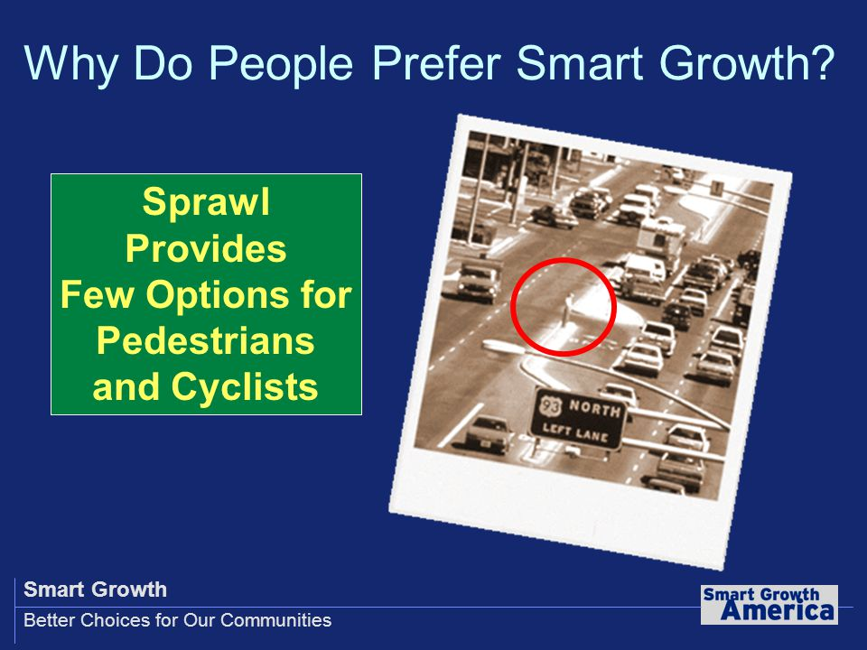 Smart Growth Better Choices for Our Communities Sprawl Provides Few Options for Pedestrians and Cyclists Why Do People Prefer Smart Growth