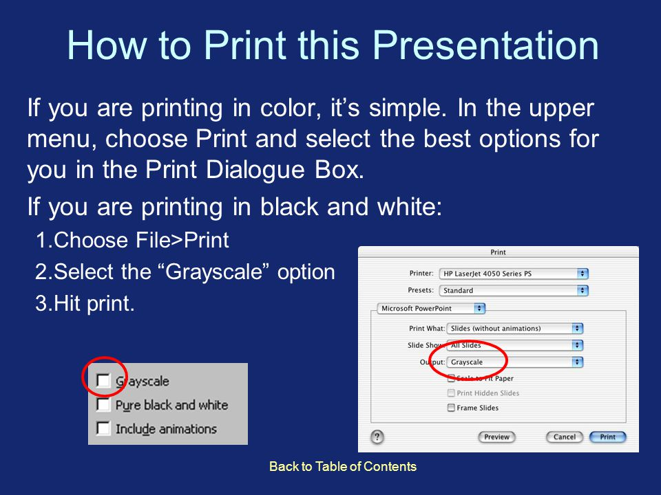 How to Print this Presentation If you are printing in color, it's simple.