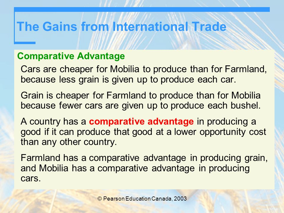 The Gains from International Trade Comparative Advantage Cars are cheaper for Mobilia to produce than for Farmland, because less grain is given up to