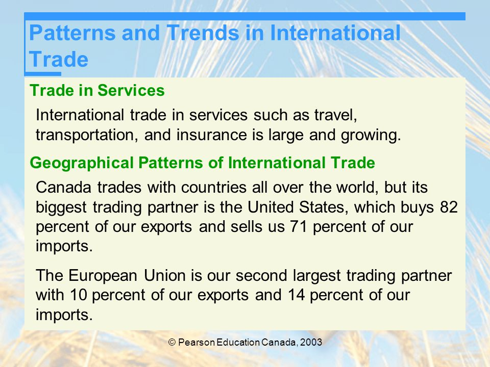 © Pearson Education Canada, 2003 Patterns and Trends in International Trade Trade in Services International trade in services such as travel, transpor