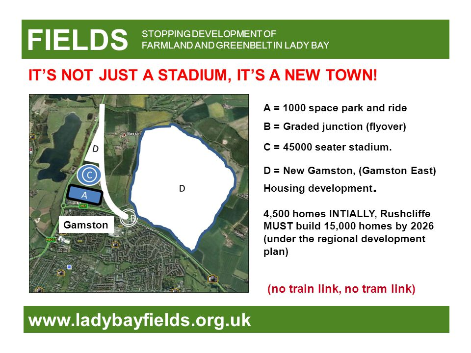 FIELDS www.ladybayfields.org.uk A = 1000 space park and ride B = Graded junction (flyover) C = 45000 seater stadium. D = New Gamston, (Gamston East) H