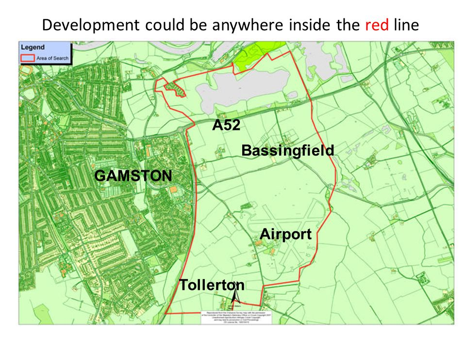 Development could be anywhere inside the red line Airport A52 GAMSTON Bassingfield Tollerton