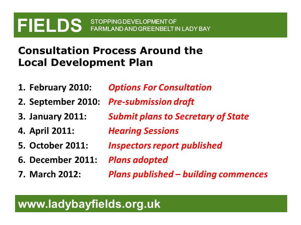 FIELDS www.ladybayfields.org.uk STOPPING DEVELOPMENT OF FARMLAND AND GREENBELT IN LADY BAY Consultation Process Around the Local Development Plan 1.Fe