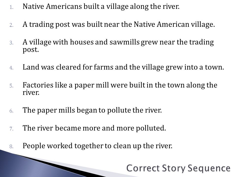 1. Native Americans built a village along the river.