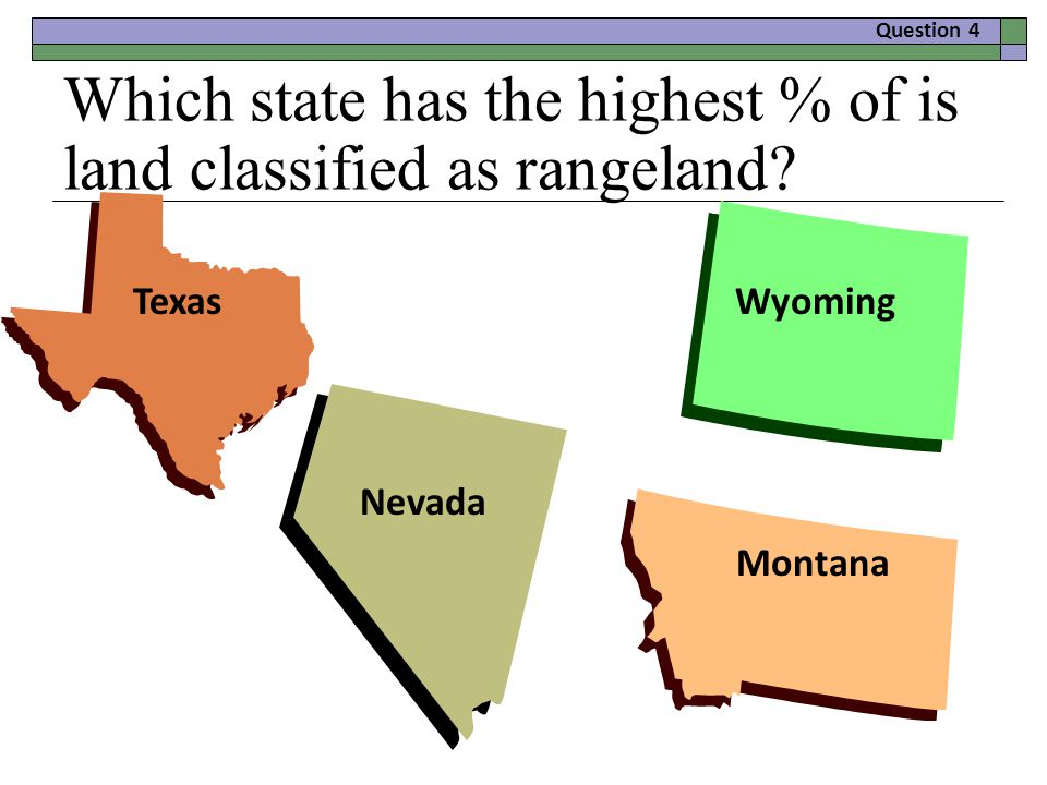 Which state has the highest % of is land classified as rangeland.
