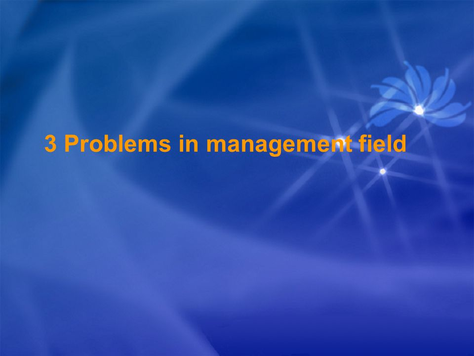 3 Problems in management field