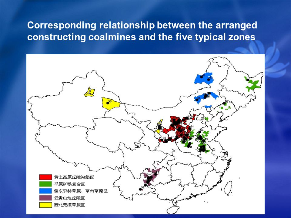 Corresponding relationship between the arranged constructing coalmines and the five typical zones