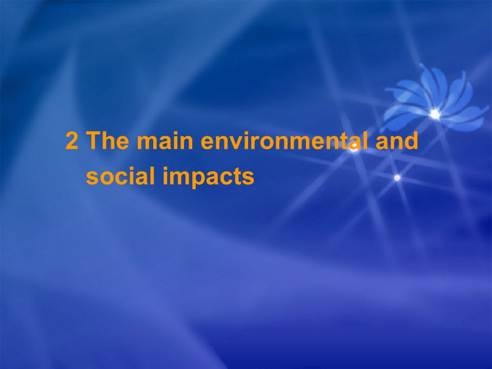 2 The main environmental and social impacts