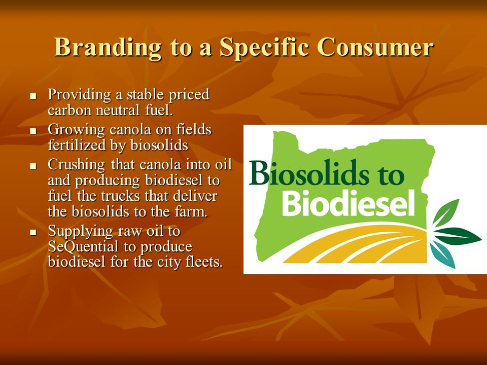 Branding to a Specific Consumer Providing a stable priced carbon neutral fuel.