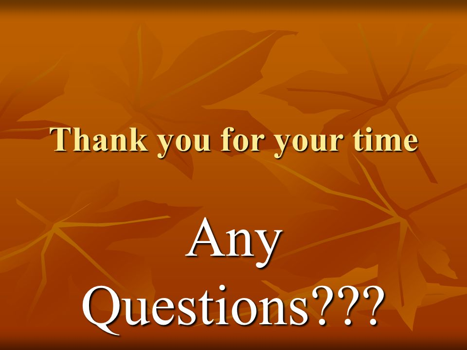 Thank you for your time Any Questions???