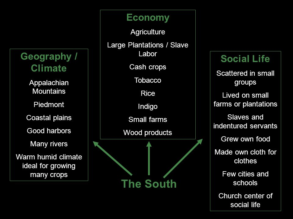 The South Economy Agriculture Large Plantations / Slave Labor Cash crops Tobacco Rice Indigo Small farms Wood products Geography / Climate Appalachian Mountains Piedmont Coastal plains Good harbors Many rivers Warm humid climate ideal for growing many crops Social Life Scattered in small groups Lived on small farms or plantations Slaves and indentured servants Grew own food Made own cloth for clothes Few cities and schools Church center of social life