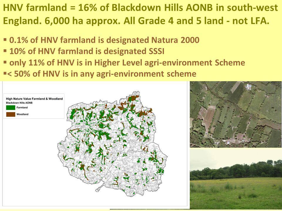 HNV farmland = 16% of Blackdown Hills AONB in south-west England.