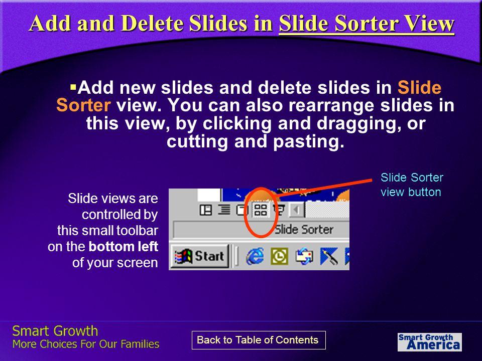 Add and Delete Slides in Slide Sorter View  Add new slides and delete slides in Slide Sorter view.
