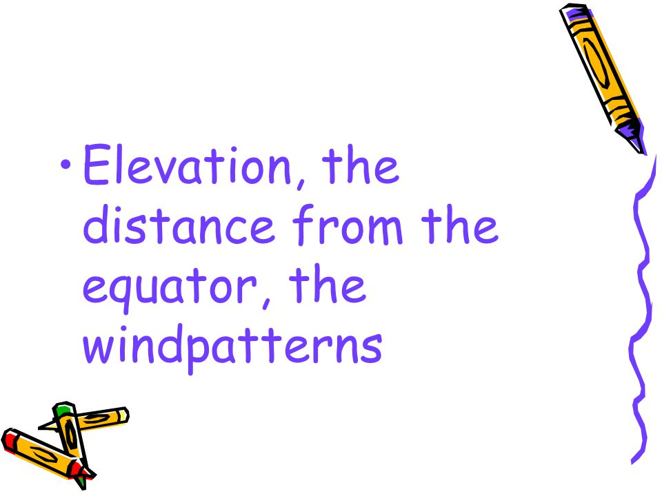 Elevation, the distance from the equator, the windpatterns
